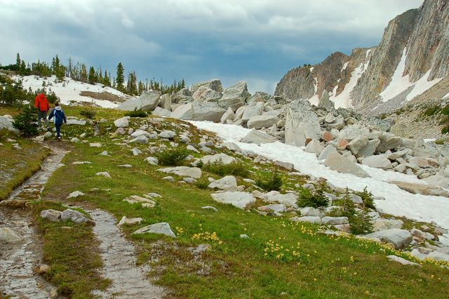 hiking in the snowy range mountains
