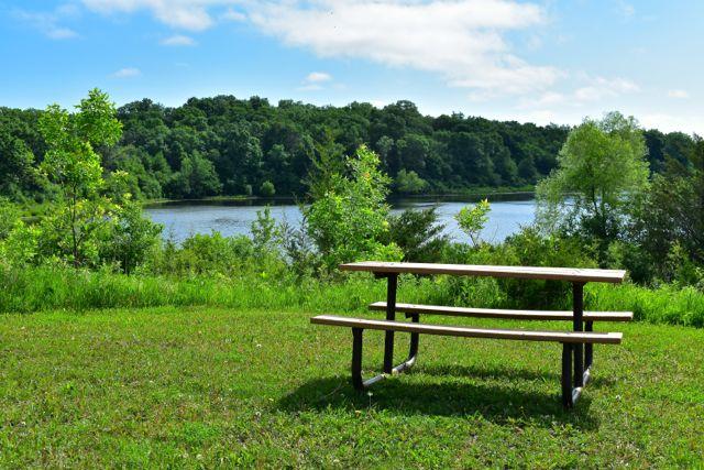 picnic table overlooking Crosby Lake