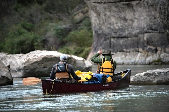 canoeing with portage packs
