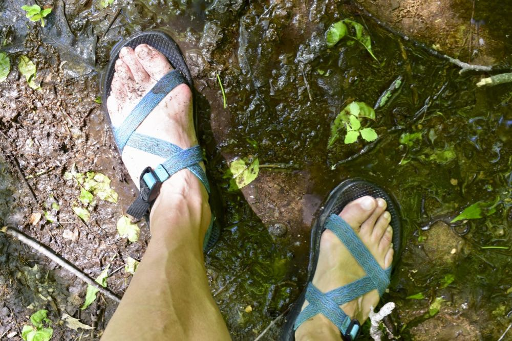 chacos in mud