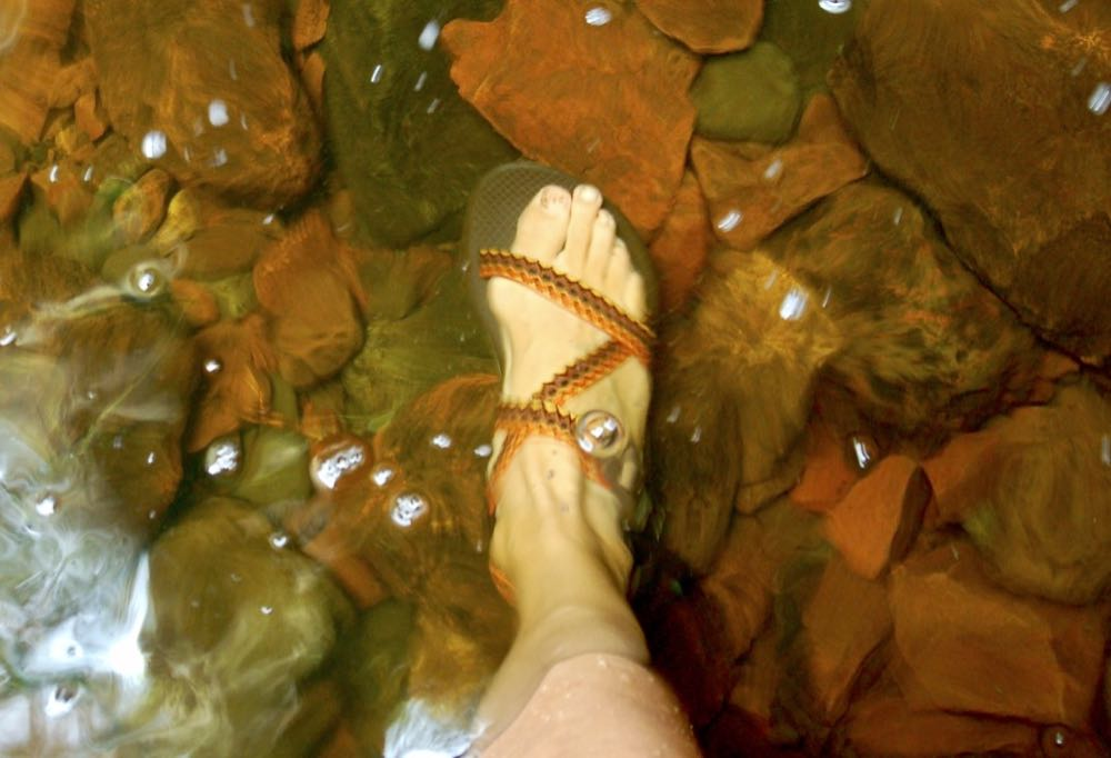chacos in the river