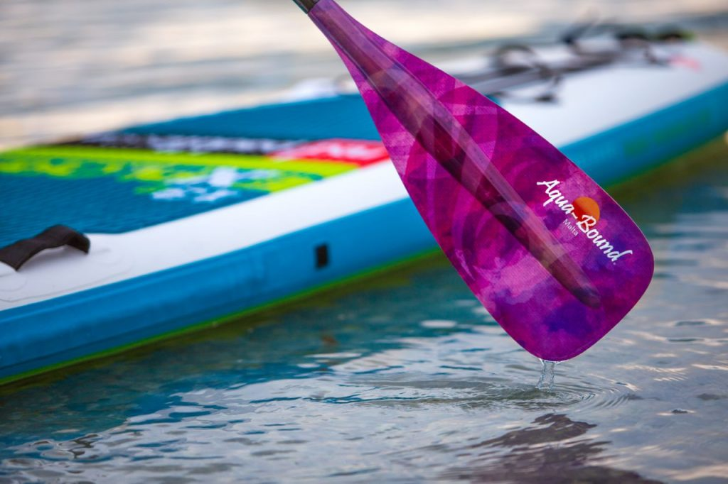 stand-up paddle board and paddle