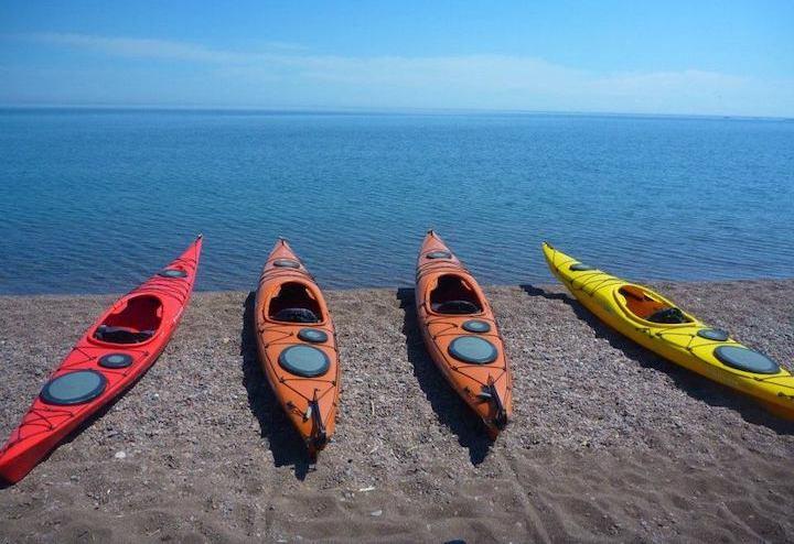 kayaks on lake superior, stone harbor