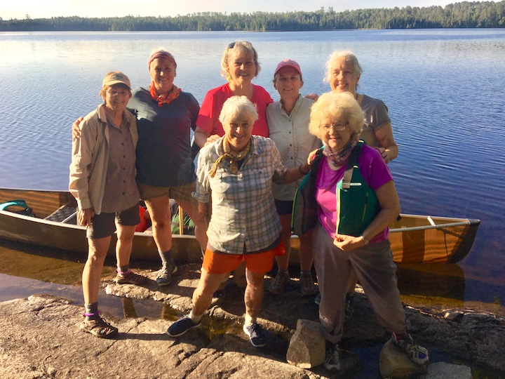women's canoe trip group with women's wilderness discovery