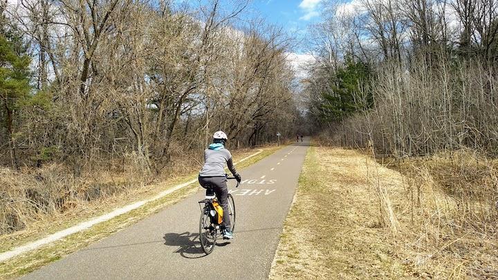 biker on Brown's Creek State Trail