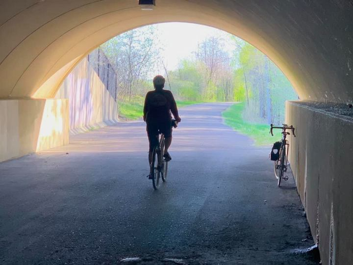 biking through tunnel