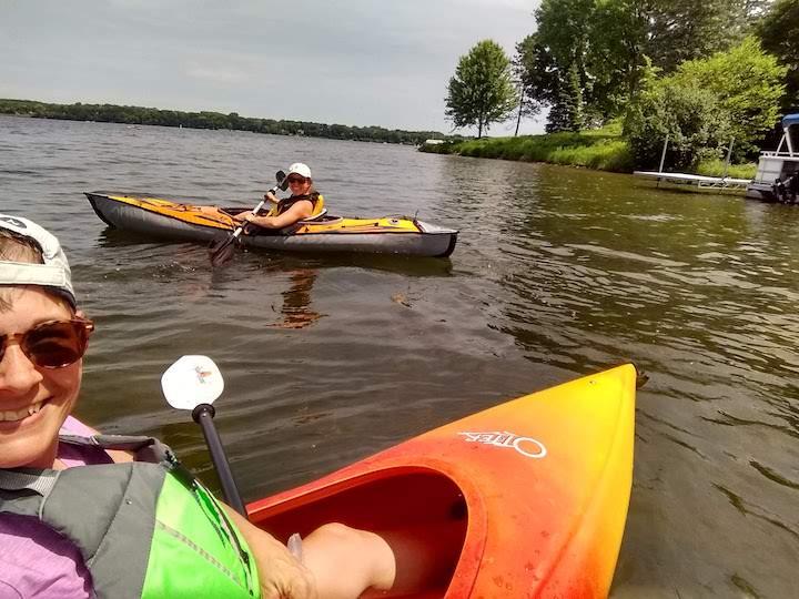 kayaking on medicine lake, french regional park