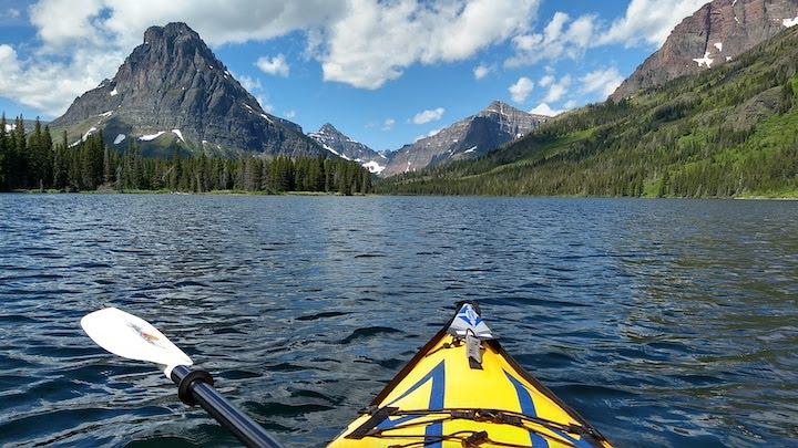 advanced elements sport inflatable kayak on two medicine lake, glacier
