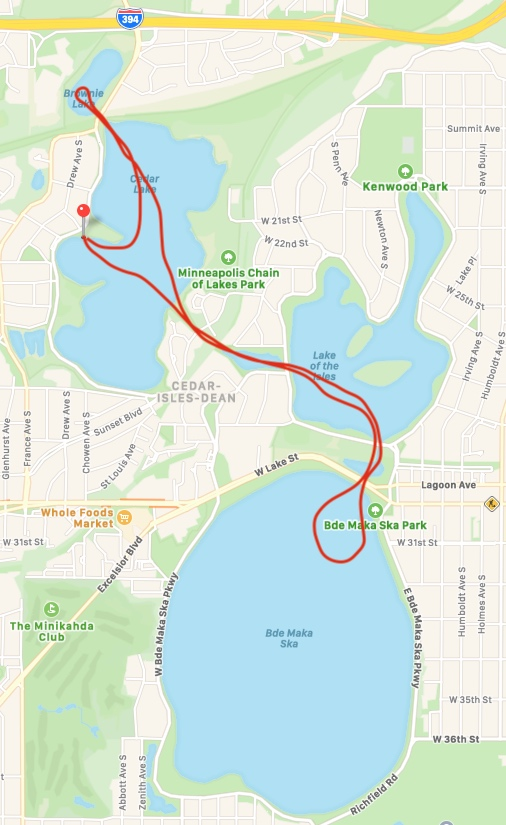 map of kayak route on mpls chain of lakes
