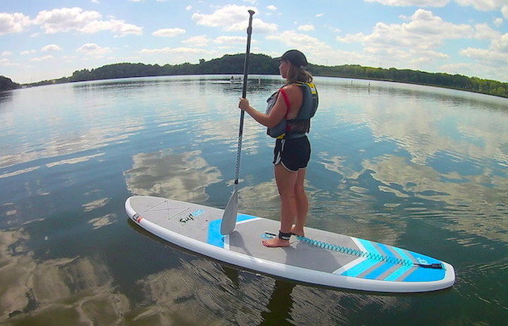 paddleboarding at bryant lake regional park