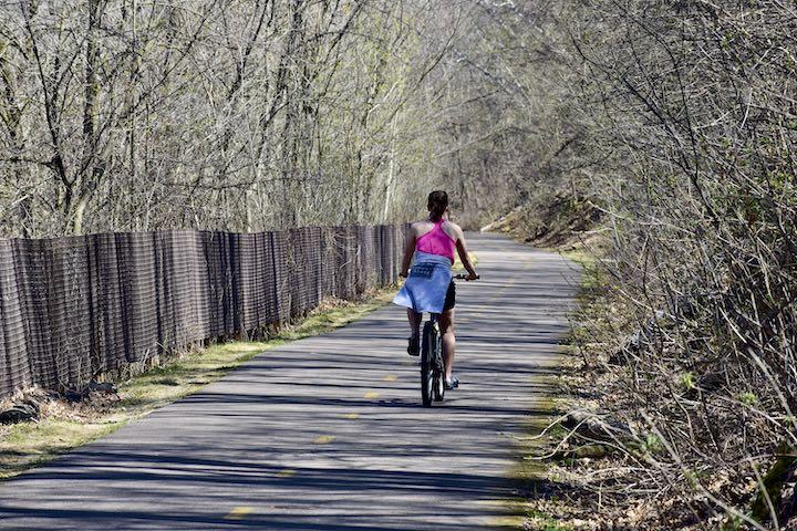 biker on browns creek trail