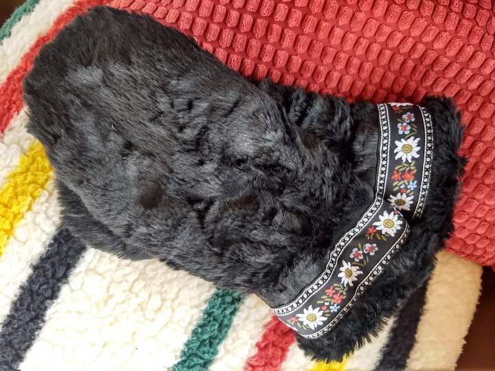 polar mitts black faux fur with trim