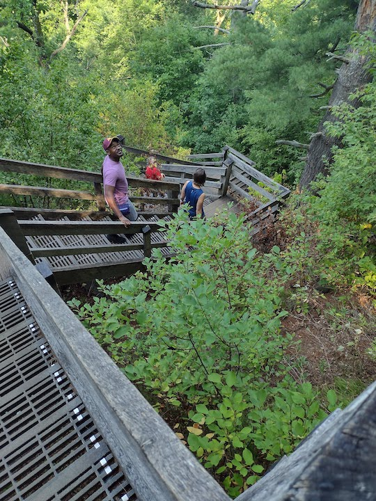 hiking down the stairs, willow river state park